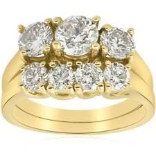 3ct Three Stone Diamond Ring Set 14K Yellow Gold