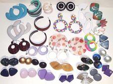Vintage large plastic fashion pierced hoop dangle stud earrings Choose