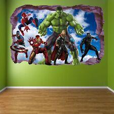 Avengers Super Hero Wall Stickers Mural Decal Hulk Spiderman Iron Man Thor EA81