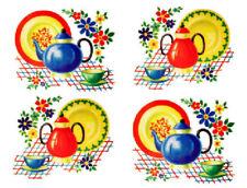 Vintage Image Retro Kitchen Dishes Teapot Cup Saucer Waterslide Decals KI375
