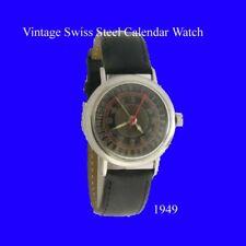 Mint S/S Swiss Calendar 17J Lever Mens Wrist Watch 1949