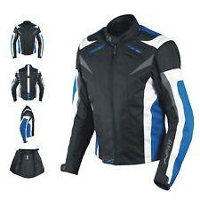 Giacca Lady Donna Tessuto Cordura Moto Protezione Manica Staccabile Blu