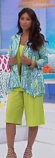 Slinky Brand Printed DrapeFront Jacket Turquoise
