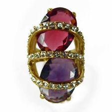 bague plaqué or rétro cabochons rouge framboise violet cristal Swarovski