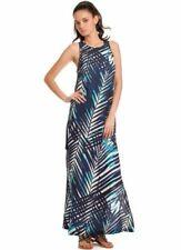 3d846ea94f1091 $268 Trina Turk Dyana Palm Leaf Print Navy Black White Maxi Dress 4 8 NEW  T308