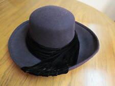LIZ CLAIBORNE Women's Wool Purple Dress Church Hat Fedora Black Velvet Trim M-LG