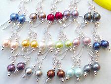 Ohrringe Perle 925er Silber Ohrhaken *Ohrhänger MUSCHELKERNPERLEN 8 mm Farbwahl