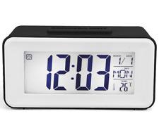 Digital Alarm Clock LCD Travel Mini Voice Control Snooze Backlight Calendar Temp