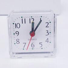 Bed Travel Mini Compact Square Quartz Beep Table Silent Alarm Clock Clear Great