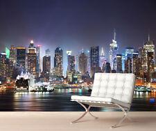 New York Night Skyline Wall Mural Photo Wallpaper Picture Self Adhesive 1047