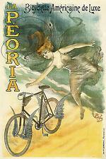 REPRO AFFICHE BICYCLETTE AMERICAINE PEORIA VELO SUR PAPIER 310 OU 190 GRS