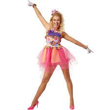 Disfraz para mujer estrella musical años 80 Hippie 70s tutú multicolor carnaval