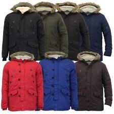 Mens Parka Jacket Brave Soul Coat Sherpa Fleece Hooded Padded Faux Fur Winter