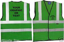 Green HI VIS Personalised HI VIZ SAFETY VEST WAISTCOAT COMPANY LOGO Custom Print