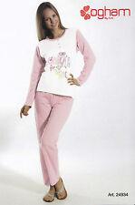 Pijama de mujer Largo Serafino. Pantalones + Manga OGHAM, 24934 Puro Algodón