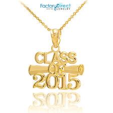 "10k Gold ""CLASS OF 2015"" Graduation Charm Pendant Necklace"