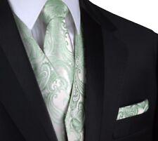 MEN'S SAGE PAISLEY TUXEDO VEST, TIE & HANKIE SET. WEDDING, DRESS, FORMAL, PROM