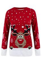 Unisex Jumper Sweater Novelty Reindeer Knitted Top Christmas Xmas Design UK 8-14