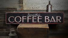 Coffee Bar, Custom Barista Shop Owner - Rustic Distressed Wood Sign ENS1001440