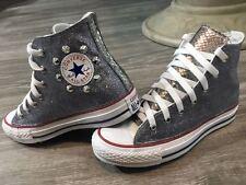 converse all star bianche alte con glitter pitone e borchie argento