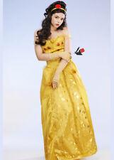 Ladies Long Golden Princess Belle Style Costume