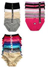 Plus Size Pack LOT Plain Stripe High Waist Briefs COTTON Bikini Panty XL 2XL 3XL