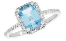 topazio blu e anello di fidanzamento con diamanti oro bianco Grande Misure R - Z