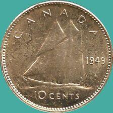 1949 Canada 10 Cent Silver Coin (2.33 grams .800 Silver)