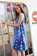 THE WHITEPEPPER Hipster Sleeveless Heart Knit Midi Dress Blue