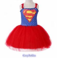 Girls Superman Supergirl Superwomen  Dress Up Costume Superhero Fancy Dress