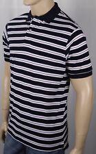 David Chu Lincs Navy Cream Purple Striped Classic Fit Mesh Polo Shirt NWT