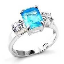 MLOA457pb LONDON BLUE TOPAZ  925 SILVER SIMULATED DIAMOND RING EMERALD CT ROUN