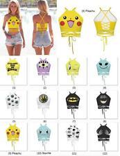 Pokemon Go Pokeball Pikachu Crop Tops Blouses Bandage Tank Tee Sleeveless Shirt