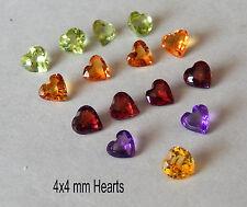 4x4 mm Hearts in Amy, Garnet, Peridot , Dark Citrine or Golden Citrine  1 Pc.