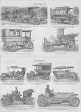 Automobile Motorwagen Motordroscke STICHE um 1908 Landaulet Adler Mercedes