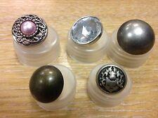 John Lewis forma de domo botones de latón antiguo Plata Diamante Joya Escudo De Armas