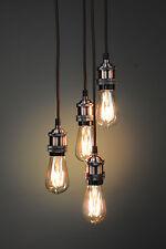 Pendant Light Fitting Quad / Multi Industrial Vintage DIY 4 Drops E27 Fitting UK