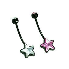 Schwarz Bauchnabel Piercing Schmuck Bio Flexibel Schwanger als Stern Form