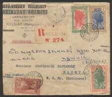 Madagascar To India Reg Cover '37 4 Stamps + Cinderella