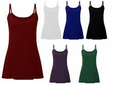 New Womens Vest Strap Tank Top Plain Cami Stretch LADIES T-SHIRT PLUS SIZE 14-28