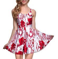 Women pleated Dress Halloween big Blood Printed dress Sleeveless S-4XL dress