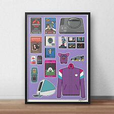 90s Retro INSPIRED WALL ART Print / Poster Minimal A4 A3 goosebumps SEGA adidas