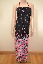 M&S Collection Black Pink Blue Bandeau Halter Floral Maxi Dress UK 12 18 20 22