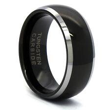 Men's Tungsten Carbide Black Mirror Curved Wedding Band Ring Size 8 9 10 11 12