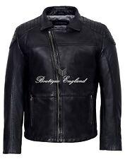 Men's Slim Fit Cross Zip Retro Biker Stone Wash Wax Real Leather Brando Jacket