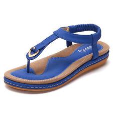 AU SOCOFY Women Elastic Clip Toe Flat Beach Sandals Clip Toe Casual Flip Flops