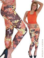 Blumen Leggings Schlitze Risse Bunt Treggings Leggins Sexy Hose Legings Blätter