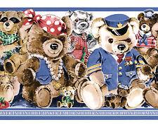 Teddy Bear Stuffed Dressed Childrens Play Nursery Rhym Vtg Wallpaper Wall Border