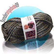 150g CANCAN GLITZ Wolle Bändchengarn 05 grau silber schwarz Netzgarn Rüschengarn