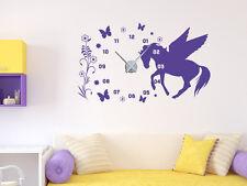 Wandtattoo Uhr mit Uhrwerk Wanduhr Kinderzimmer Mädchen Pferd Blumen